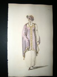 Ackermann 1809 Hand Col Regency Fashion Print. Walking Dress 1-26